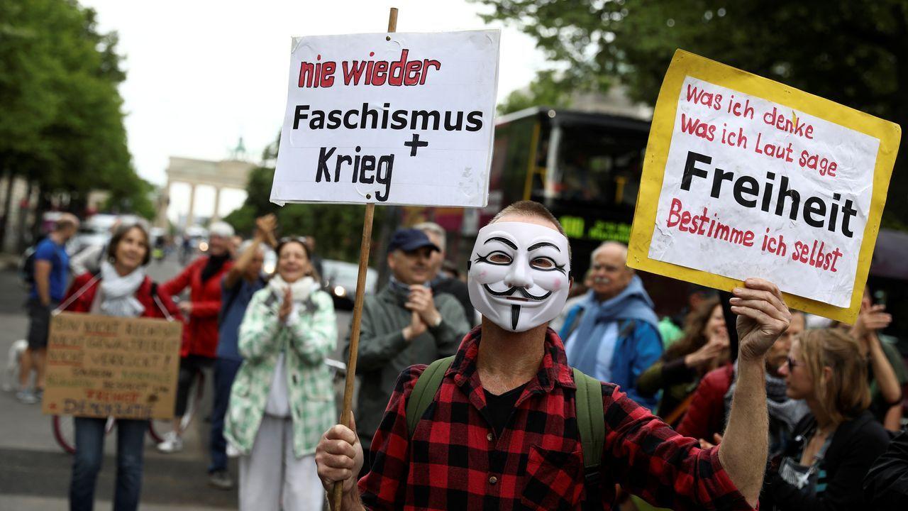 Una de las concentraciones de hoy en Berlín