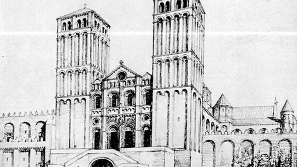 Klaus Rheidt y Bernd Nicolai (centro), ayer en la presentación de sus teorías sobre la Catedral.