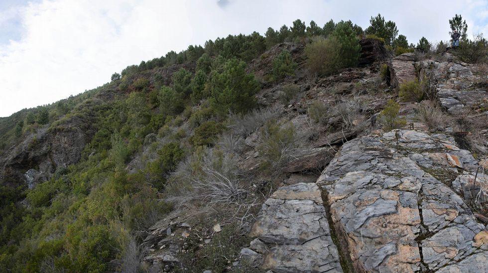 Un aspecto de la cabecera de la antigua explotación minera