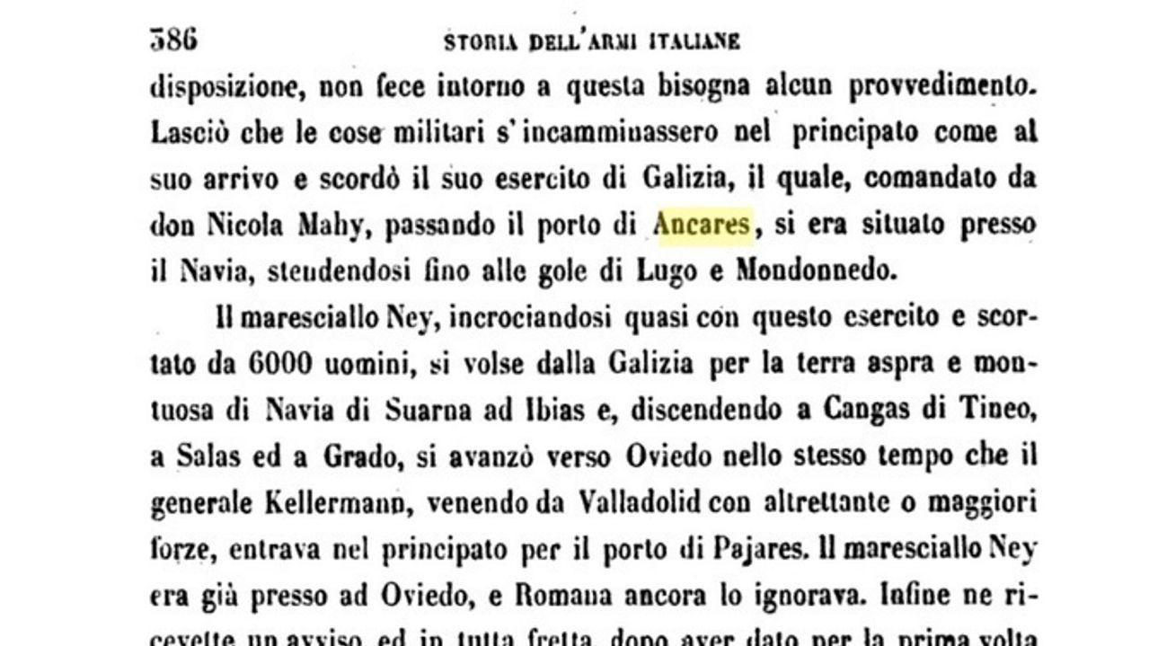 Libro do italiano Felici Turoni no 1856, onde se fala do Porto de Ancares