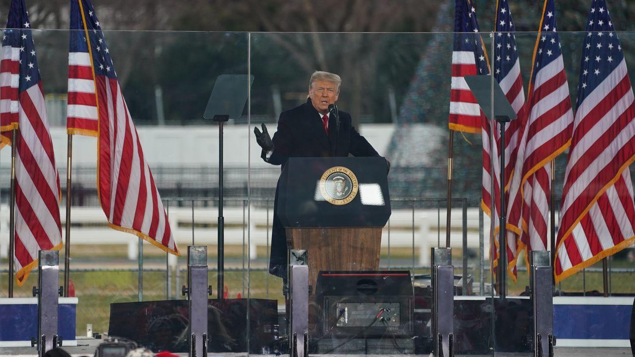 Donald Trump, dirigiéndose a los manifestantes antes de los disturbios