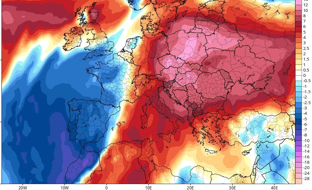Las temperaturas presentan actualmente una anomalía negativa