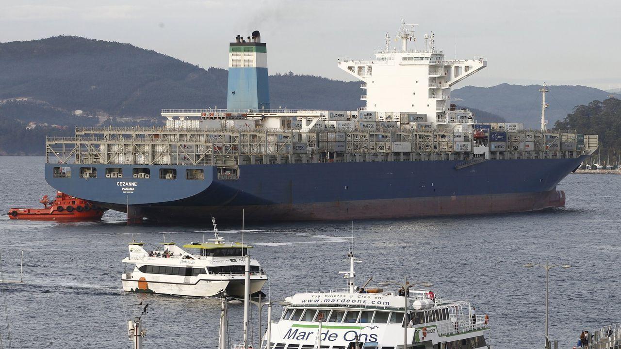 Un portacontenedores de Maersk, en Vigo, en una imagen de archivo
