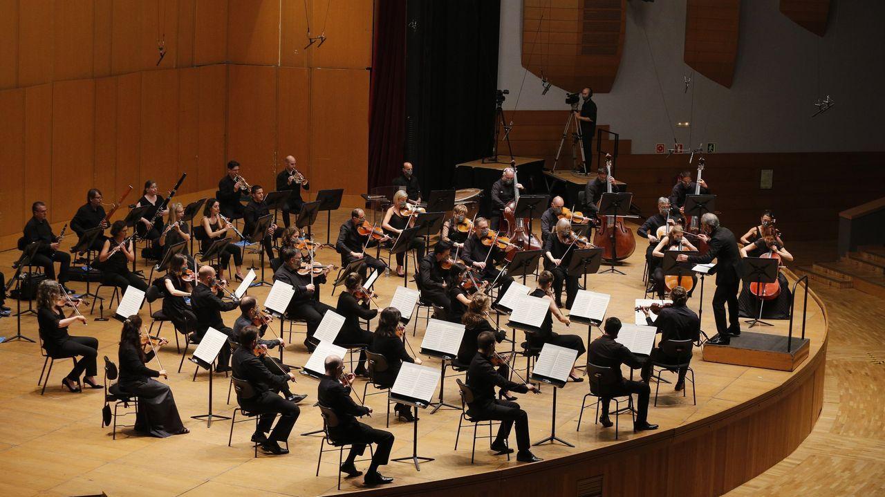 La Orquesta Sinfónica de Galicia en su primer concierto tras el estado de alarma. Imagen de archivo