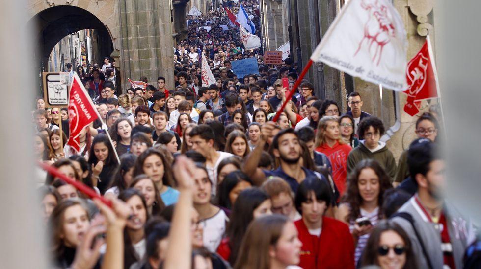 Galicia Montessori.Manifestación de estudiantes en Santiago