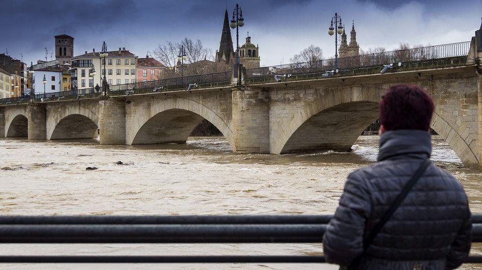 Alerta en Navarra por la crecida de los ríos.El río Ebro a su paso por Logroño
