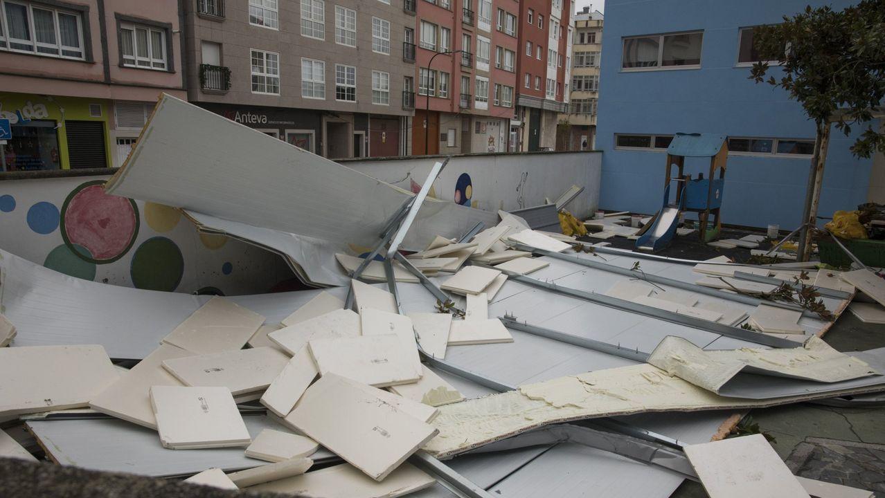 Destrozos causados por la borrasca Fabien, en Carballo