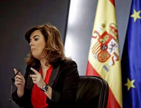 Sáenz de Santamaría, ayer en la rueda de prensa posterior al Consejo de Ministros.