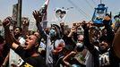Seguidores de las milicias proiraníes durante una protesta en la ciudad de Bagdad