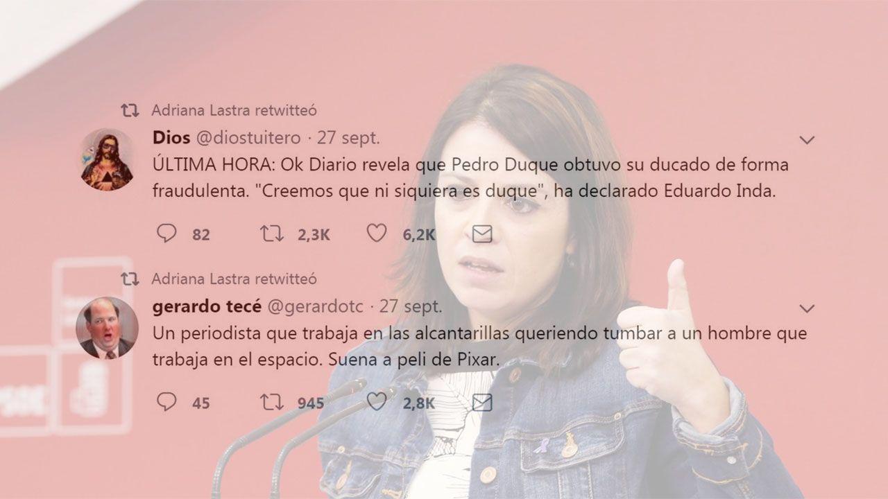 Algunos de los retuits de Adriana Lastra