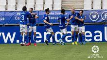 gol Ortuño Arribas Tejera Borja Sanchez Luismi Nieto Real Oviedo Las Palmas Carlos Tartiere.Los futbolistas del Real Oviedo celebran el gol de Ortuño