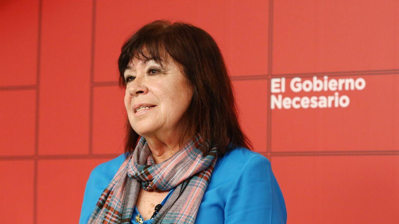 La presidenta del PSOE, Cristina Narbona, en la sede del partido en Ferraz