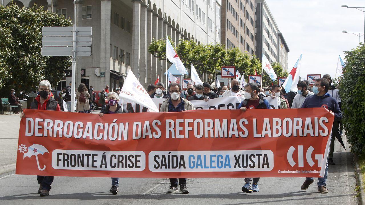 La manifestación de la CIG recorrió el centro y concluyó en el Cantón de Molíns