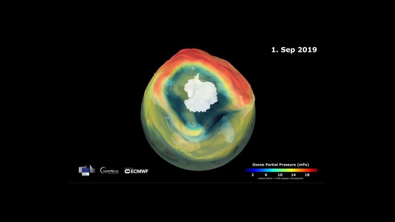 Imagen del agujero de la capa de ozono tomada por el Copernicus Atmosphere Monitoring Service en el 2019