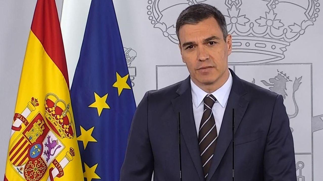 Maroto explica las medidas desplegadas en Asturias.Pedro Sánchez, durante su comparecencia del sábado