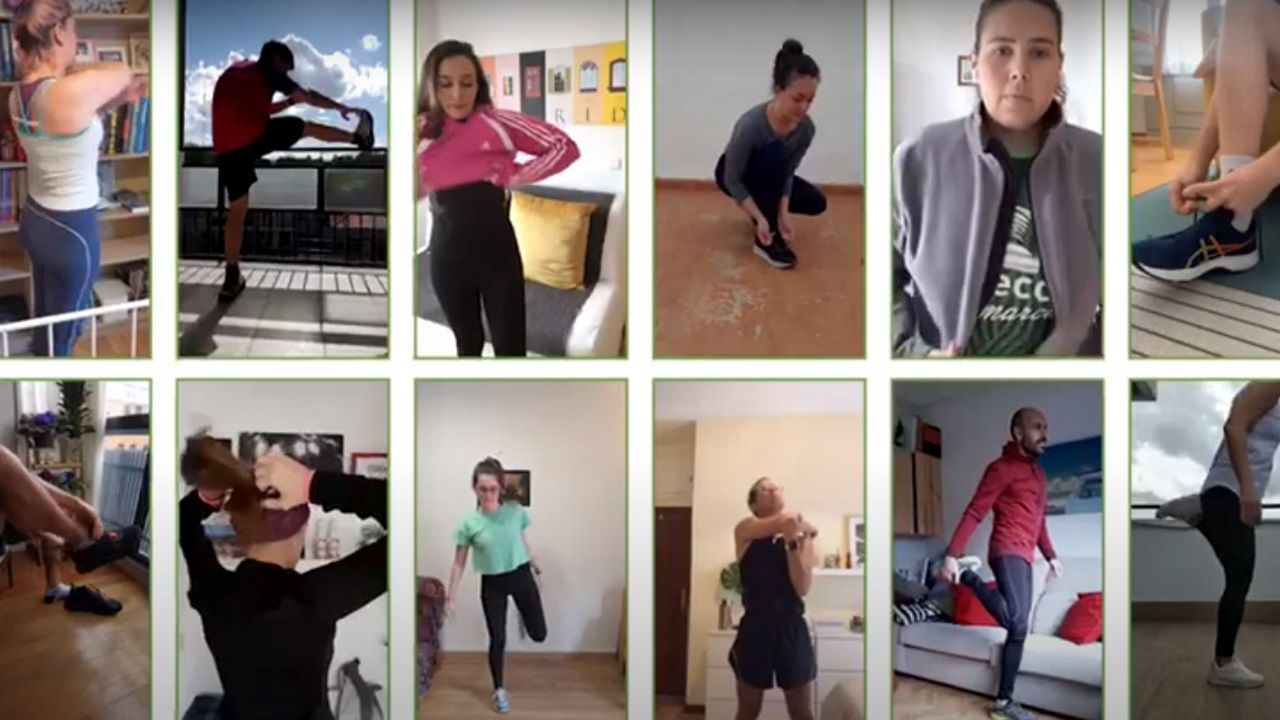 Collage con imagenes de algunos de los participantes en la iniciativa virtual de la AECC La Carrera más larga