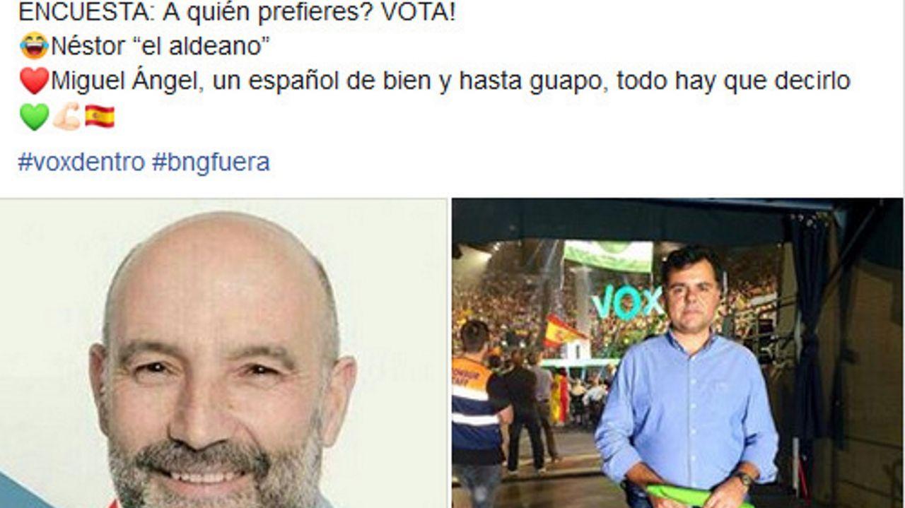 En sus redes, Vox publicó una encuesta en la que daba dos opciones: escoger al «aldeano» candidato del Bloque o al suyo «un español de bien y hasta guapo»
