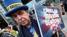 El activista «anti-brexit» Steve Bray,  en una protesta frente al Parlamento de la UE en Bruselas