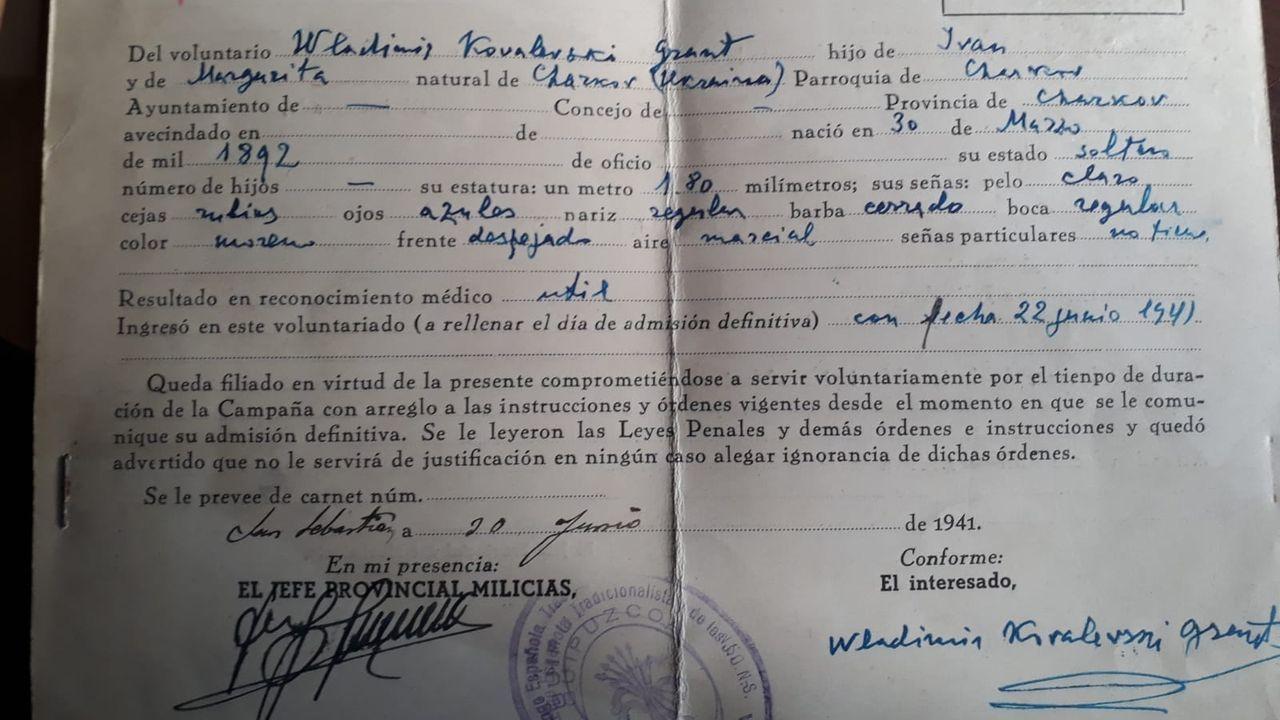 Ficha de inscripción de Kovalevski en la División Azul