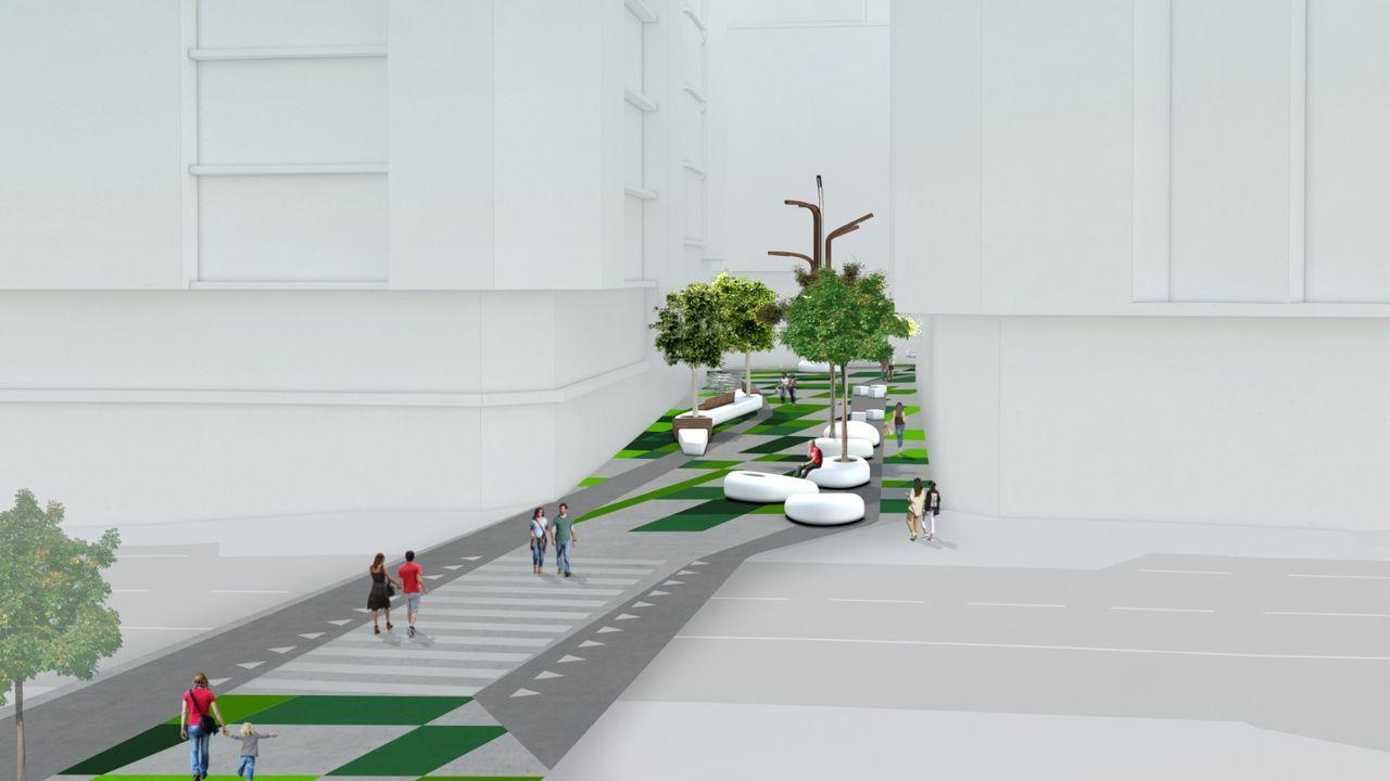 Estado actual de la calle y recreación del proyecto de peatonalización de Alcalde Marchesi