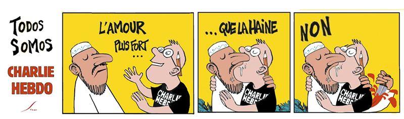 Los ilustradores gallegos, ante el atentado contra el semanario «Charlie Hebdo».En Niza, más de 23.000 personas se han manifestado en la emblemática avenida de los Ingleses con el lema «Yo soy Charlie».