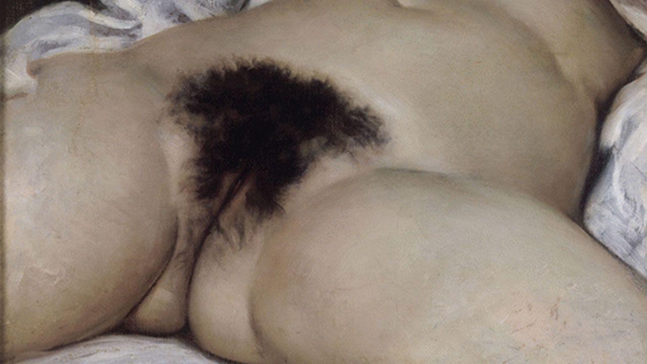 La obra retirada, «El origen del mundo», que se expone en el Museo de Orsay, en París