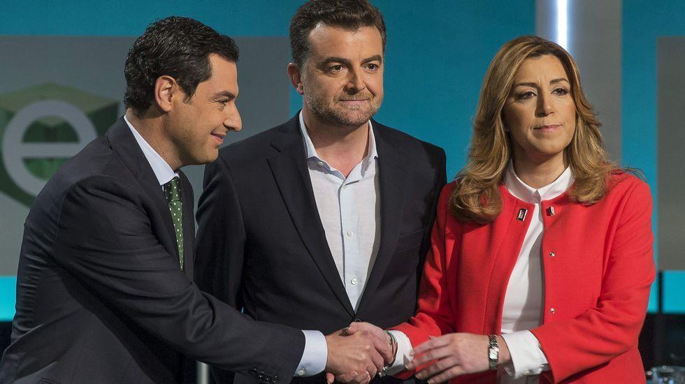 Juanma Moreno, Antonio Maíllo y Susana Díaz