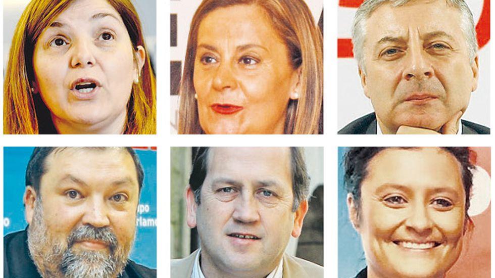 En el sentido de la lectura: Pilar Canela, Carmela Silva, José Blanco, Francisco Caamaño, Xaquín Fernández Leiceaga y Laura Seara