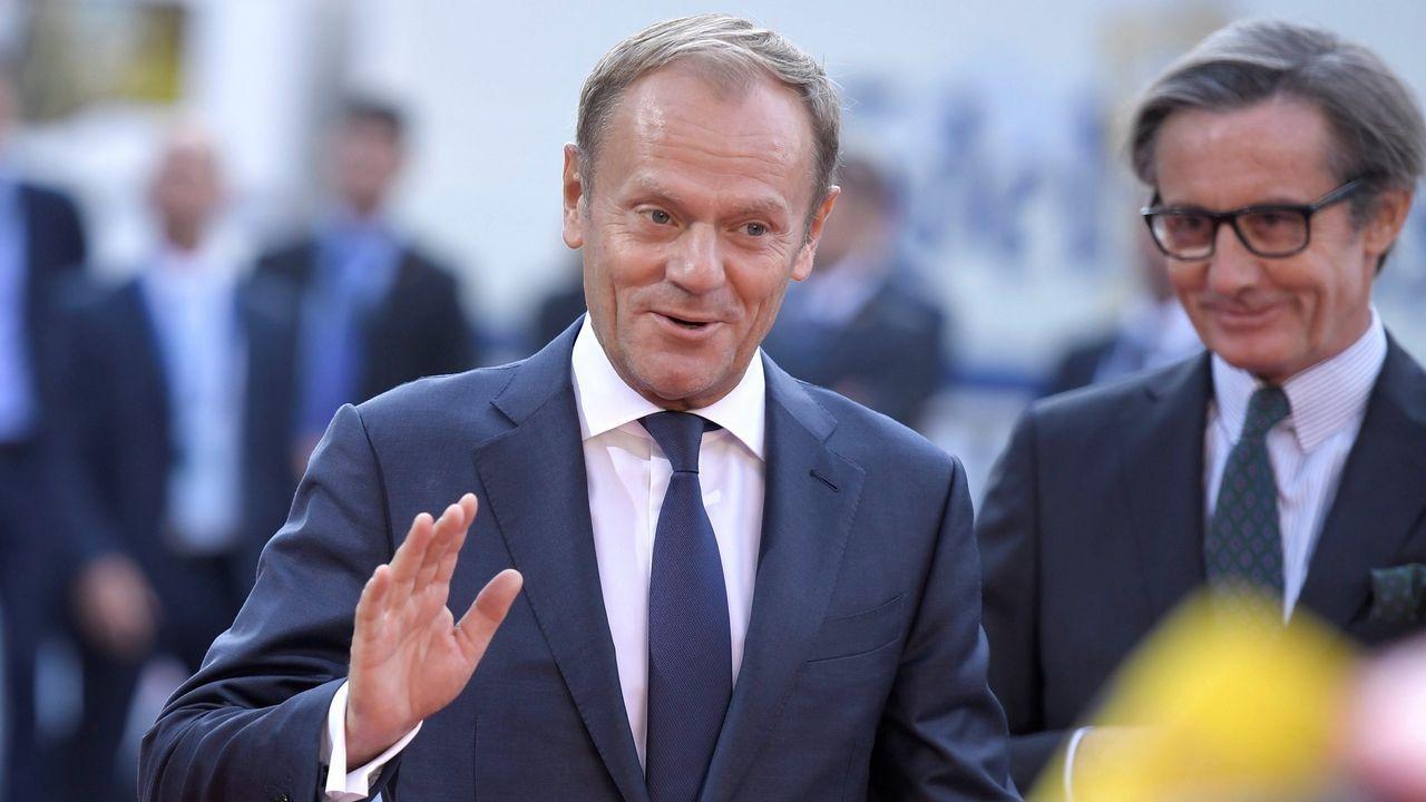 Turbulento aniversario del 1-O.Tusk con el primer ministro irlandés, Teo Varadkar, en la sede del Consejo Europeo