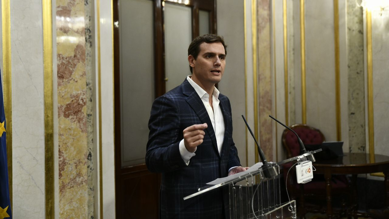 El presidente de Ciudadanos, Albert Rivera, en la rueda de prensa de hoy