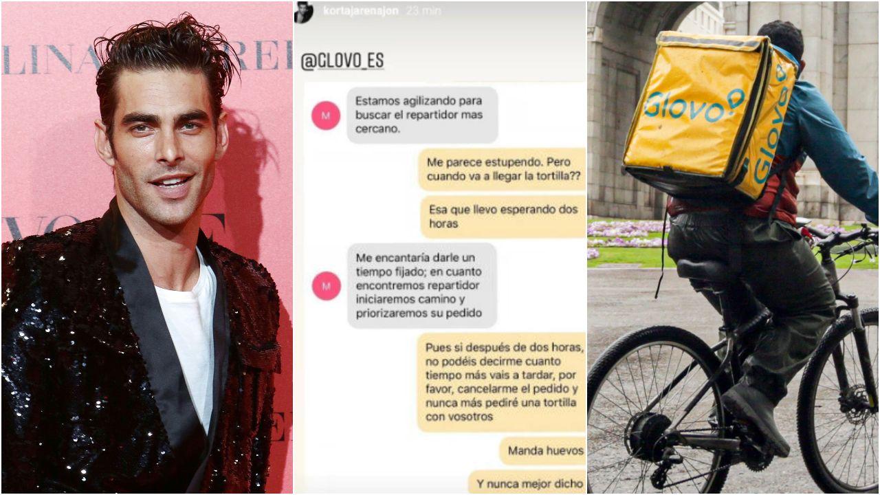 A los lados, imágenes de archivo de Jon Kortajarena y de un repartidor de Glovo. En el centro, captura de la queja que compartió en sus stories de Instagram por el servicio de comida a domicilio