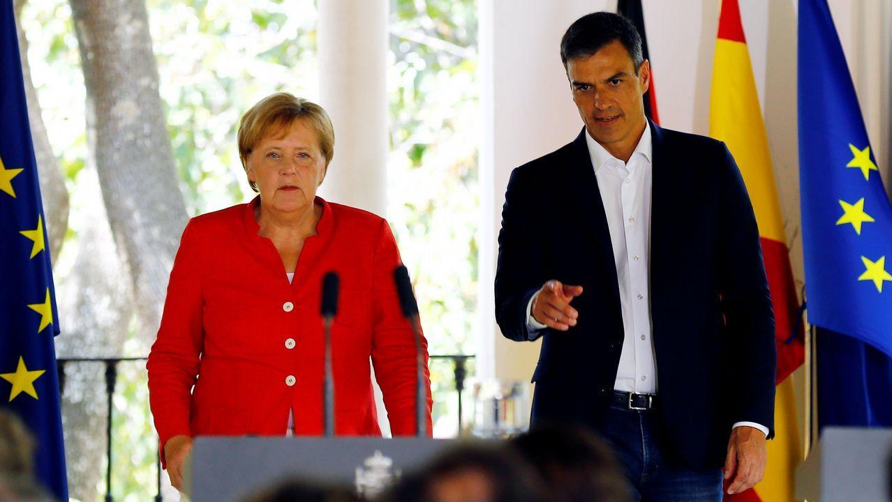 Visita de Angela Merkel a España para reunirse con Pedro Sánchez.El candidato Manfred Weber