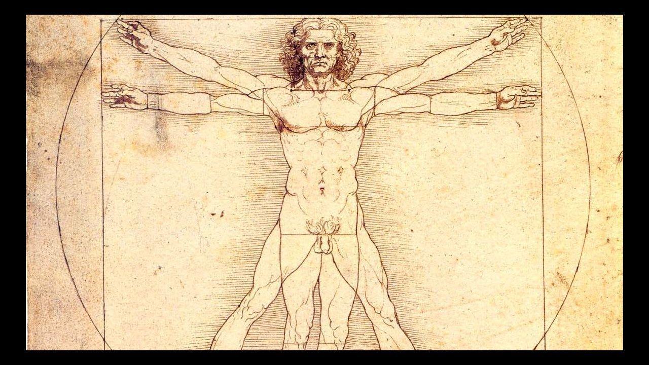«Hombre de Vitruvio» (c. 1490). Leonardo da Vinci. Galería de la Academia de Venecia