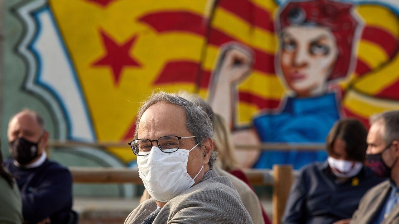 El expresidente de la Generalitat, Quim Torra durante el acto organizado para conmemorar el tercer aniversario del referendo ilegal del 1-O