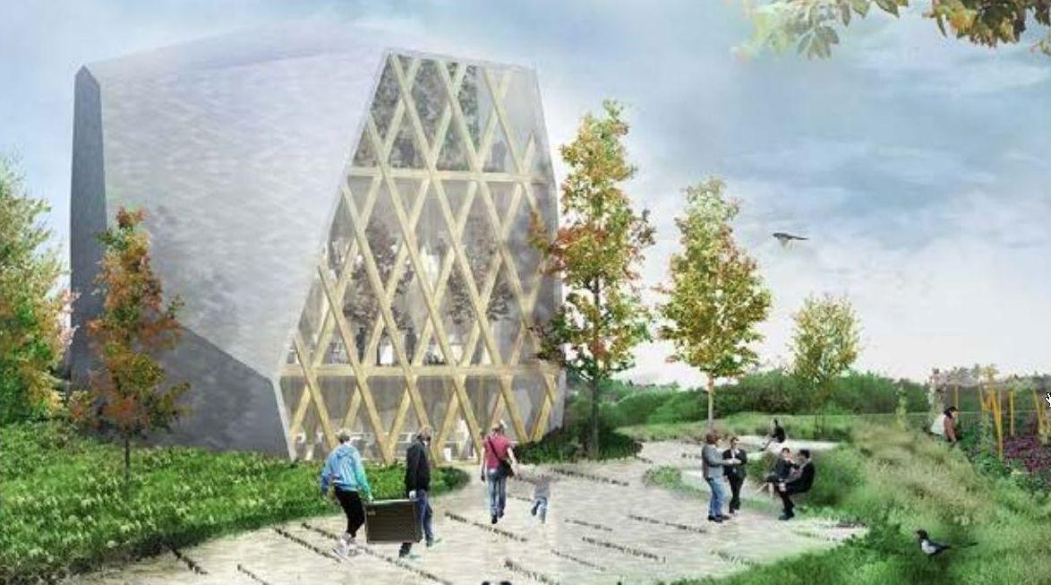 Recreación do edificio Impulso Verde, que terá un xardín interior vertical