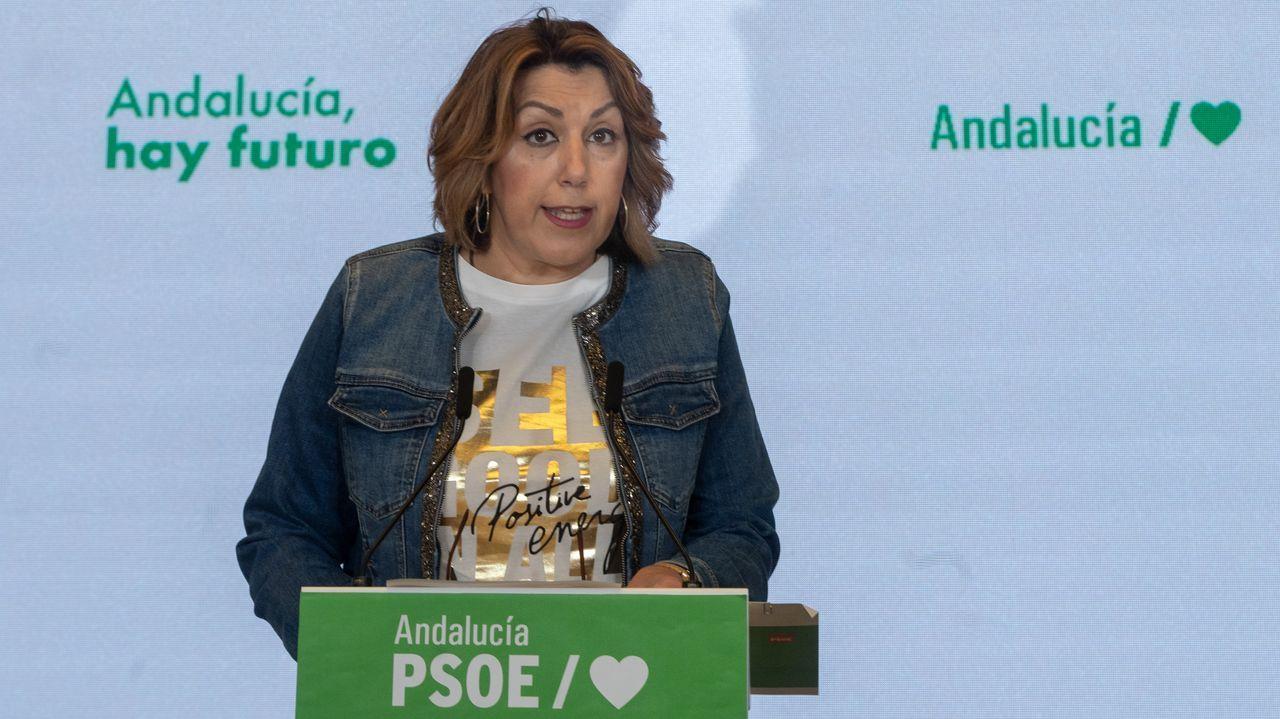La secretaria general del PSOE en Andalucía, Susana Díaz, este viernes, en un acto en Lebrija (Sevilla)