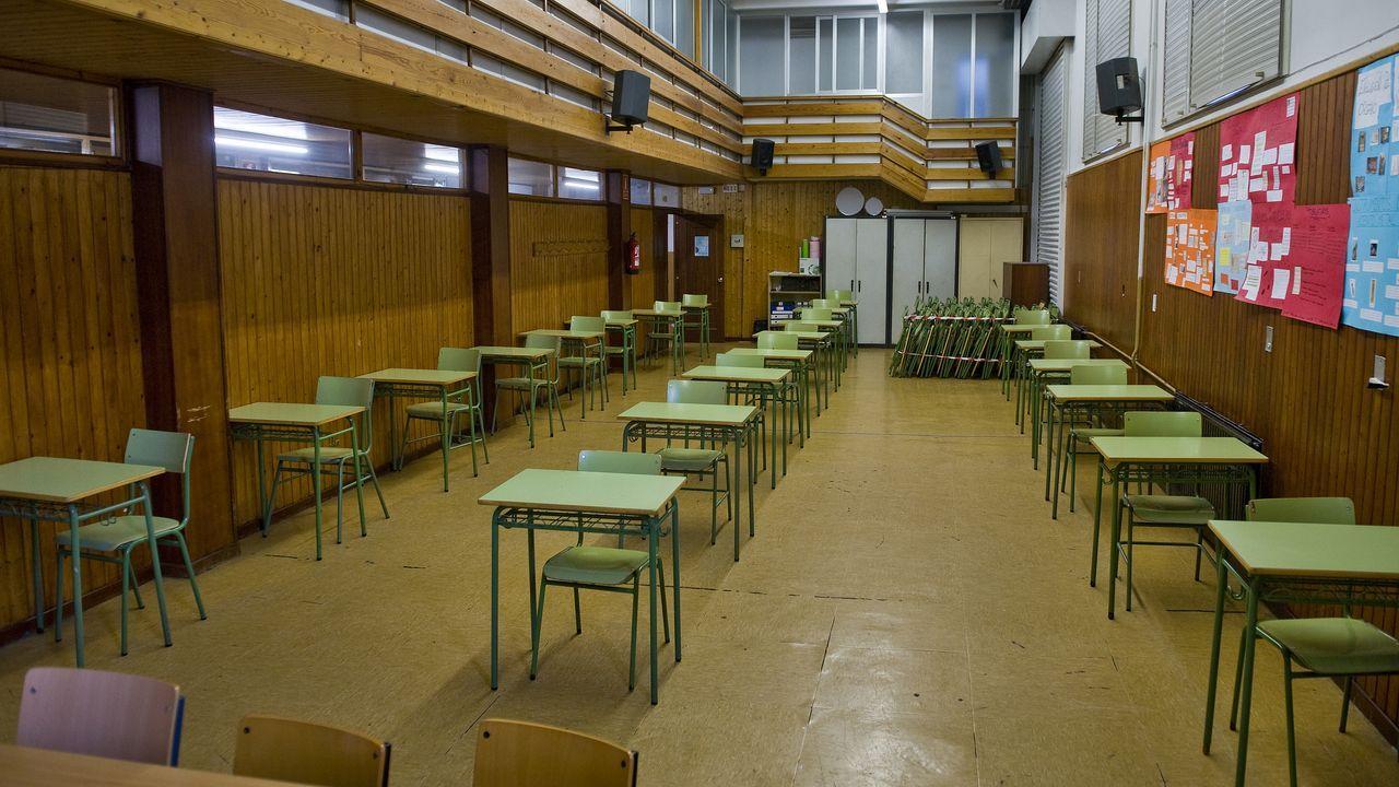 Salón de actos reconvertido en aula en el centro Fernando Wirtz de A Coruña