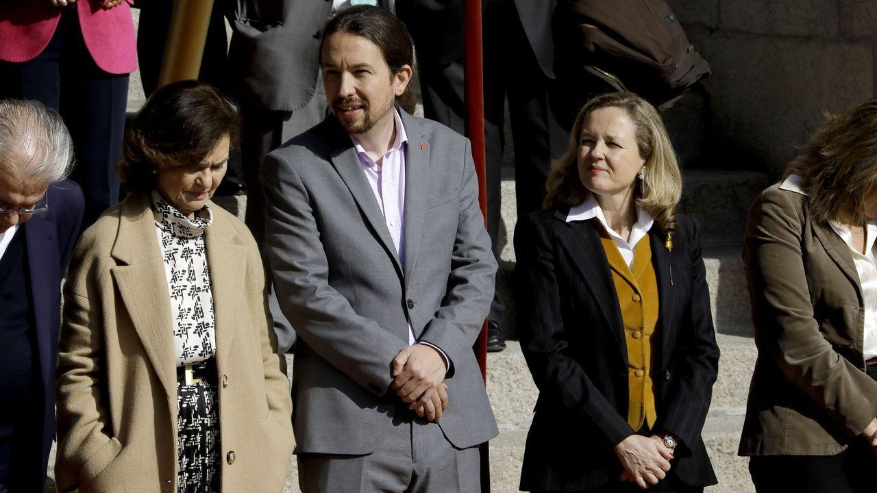 Actos multitudinarios en Madrid en los días de más contagios.Calvo, Iglesias y Calviño, durante un acto en el Congreso el pasado mes