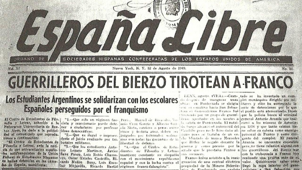 La noticia del atentado de «Caxigal» contra Franco, publicada por un diario próximo a lo exiliados republicanos en Estados Unidos. En España fue silenciado
