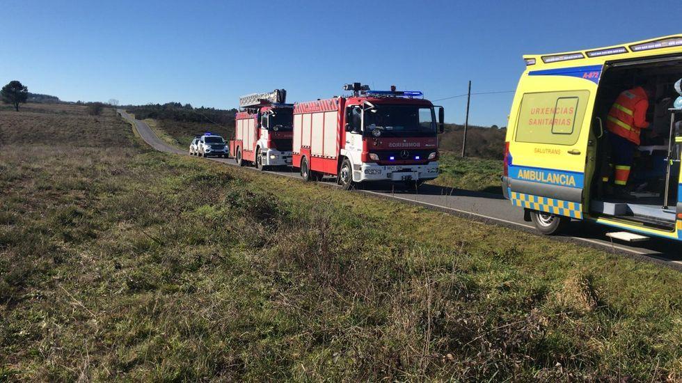 Filomena también se deja notar en Vigo.Los servicios de emergencias, en el lugar en el que se produjo el accidente