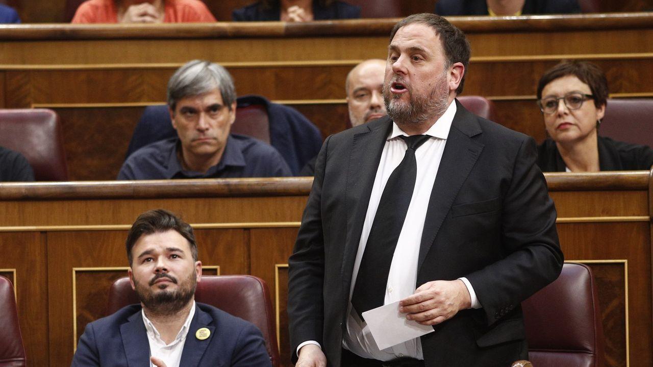 El himno de España se cuela en la ofrenda floral del Govern por la Diada.Junqueras, en una foro de archivo, el pasado 21 de mayo, durante su toma de posesión como diputado