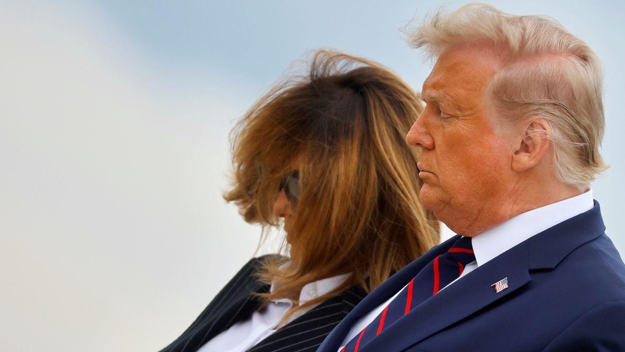 Trump en el hospital.Amy Coney Barrett y Donald Trump en el acto en el que ella fue nombrada jueza del Supremo de EE.UU. Ninguno lleva mascarilla