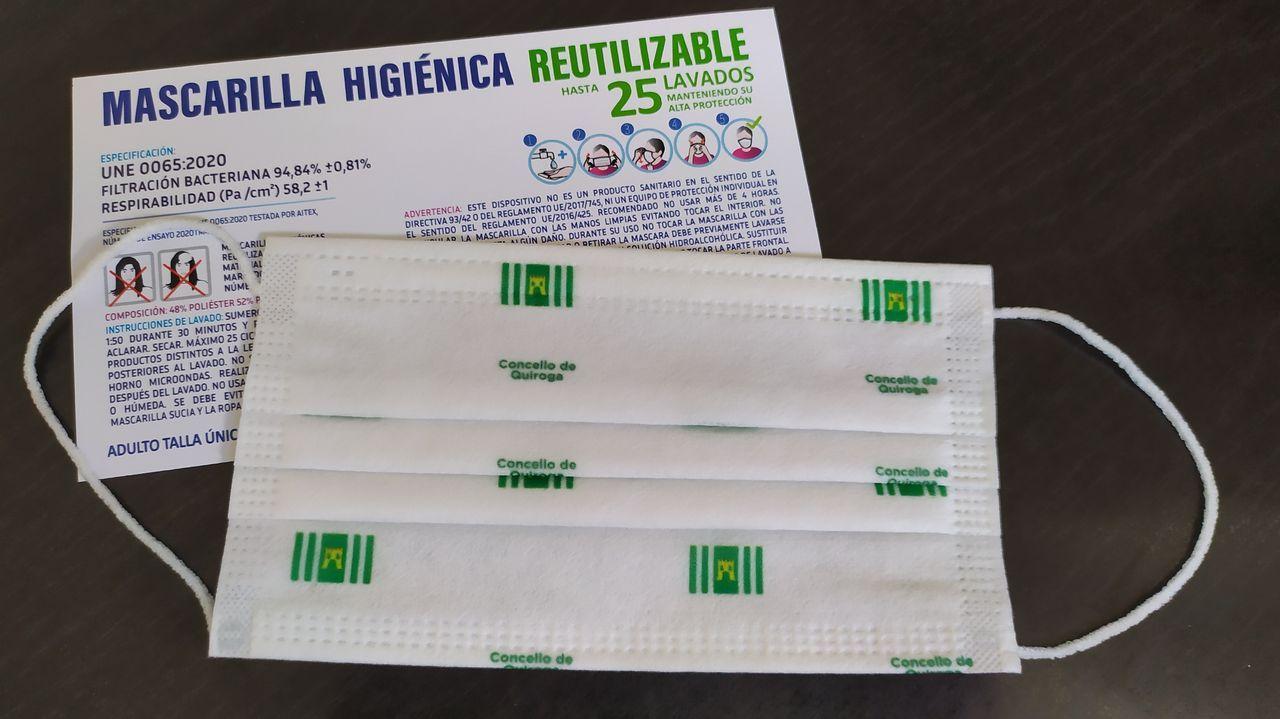 Las mascarillas que se repartirán la semana próxima están serigrafiadas con el logo y el nombre del Ayuntamiento de Quiroga