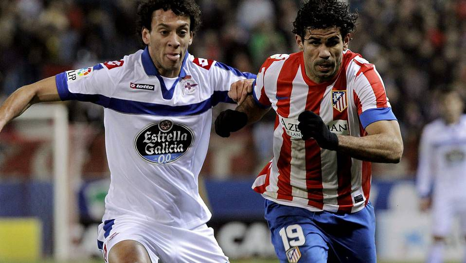 Fotos del Atlético de Madrid 6 - Deportivo 0.Salomão con su compatriota Nelson Oliveira, que hoy podría debutar como titular en la Liga.