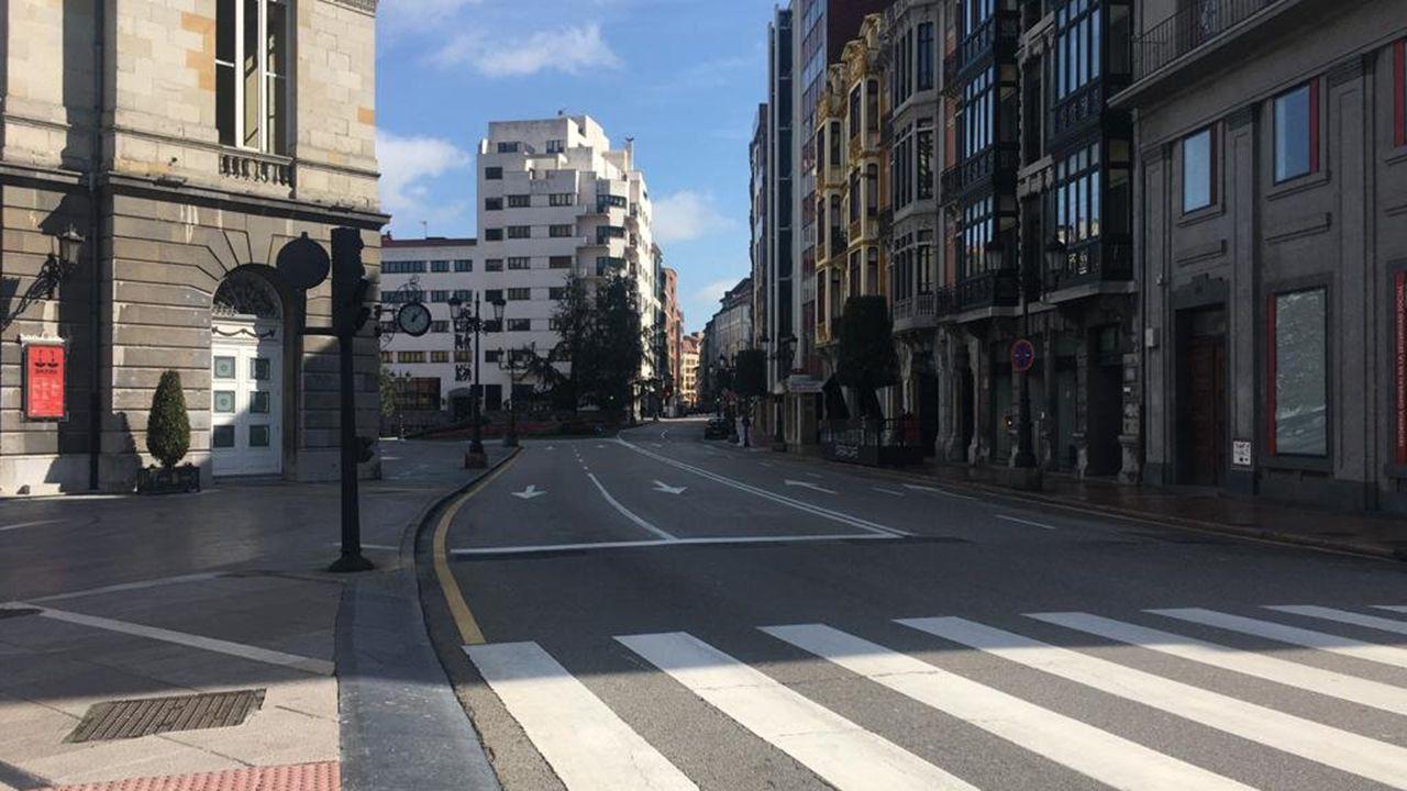 Las calles de Oviedo, sin gente