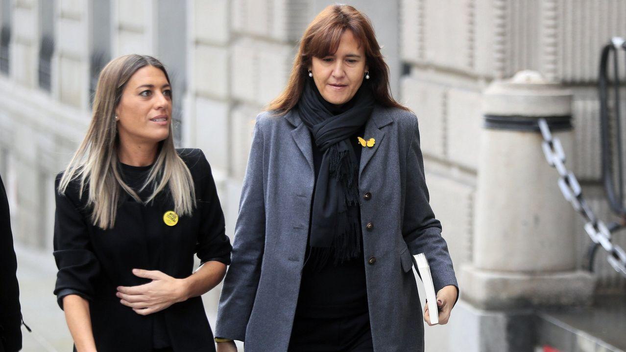 Las diputadas de JxCat Míriam Nogueras y Laura Borràs, este martes, a su llegada al Congreso para reunirse con la socialista Adriana Lastra
