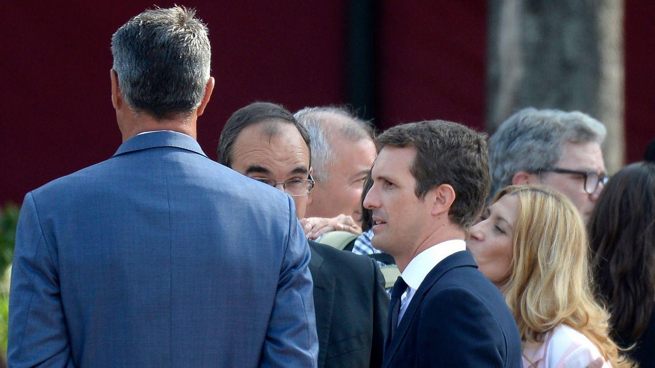 El líder del PP, Pablo Casado, a su llegada a Barcelona para participar en los homenajes