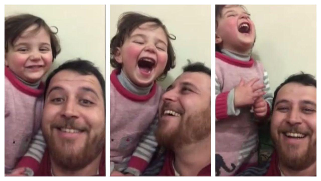 Bomba o avión, el juego desesperado al que un padre sirio recurre con su hija de 4 años