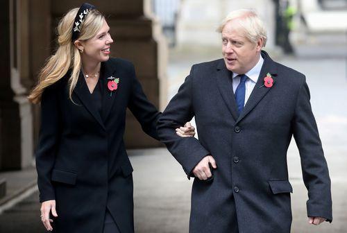 Boris Johnson, este sábado con su pareja, Carrie Symonds