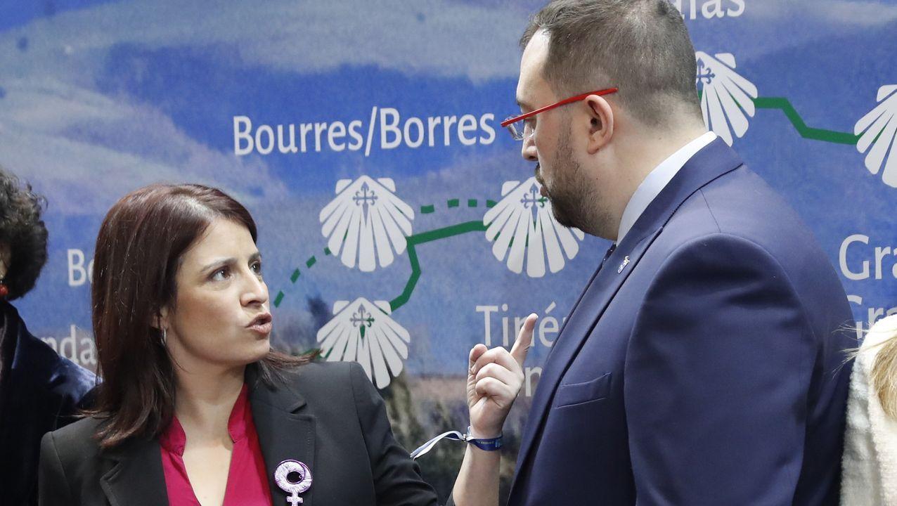 Adriana Lastra, este jueves, con el presidente de Asturias, el socialista Adrián Barbón